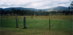 This is a view of the greens with the barbed wire fences around to keep out the animals and cattle